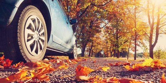 Auto auf den Straßen im Herbst